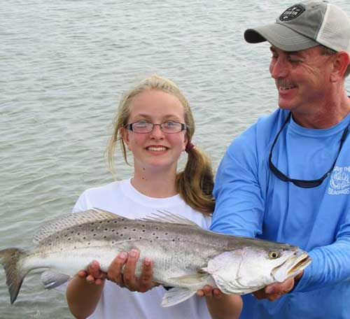 Anna shows off her beautiful seatrout