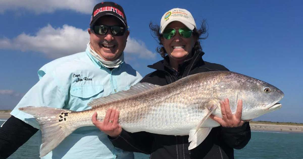 big redfish caught in the lagoon with Capt. Jim Ross
