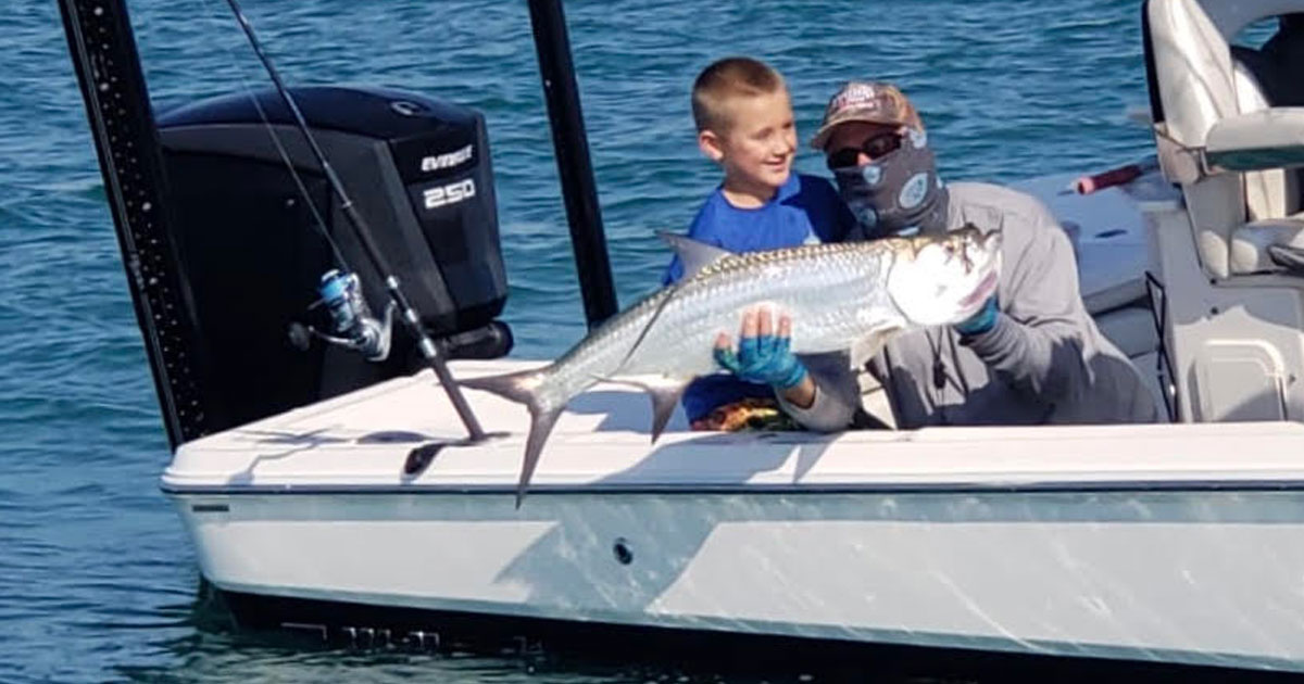 Noah's first beach tarpon